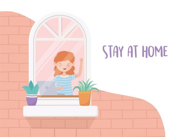 自宅の検疫、ノートパソコンの窓の鉢植えの植物を持つ女性