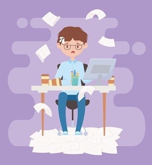 仕事でストレス、オフィスに座っている疲れたビジネスマン