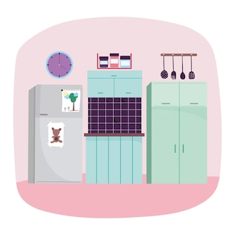 キッチンインテリア冷蔵庫調理器具タイル時計と食品時計