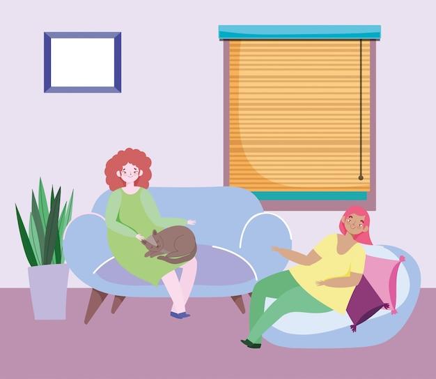 猫とクッションのウィンドウイラスト付きのリビングルームに座っている若い女性