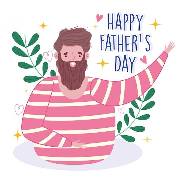 Счастливый день отцов, борода человек папа мультфильм цветочные сердца украшения