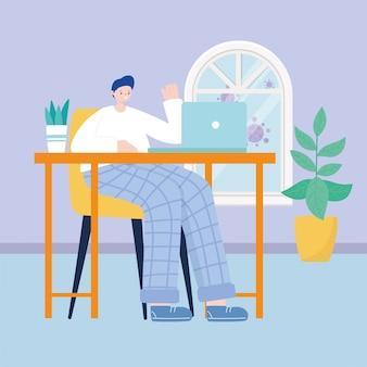 部屋の家のイラストの机の上のノートパソコンで作業する若い男