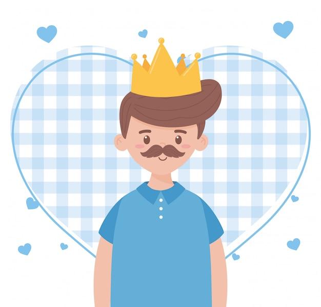 Отец человек с короной на день отцов дизайн