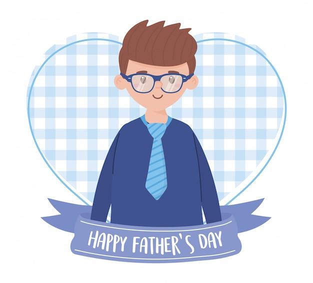 Отец человек с лентой на день отцов дизайн