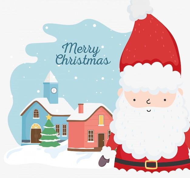 メリークリスマスのお祝いかわいいサンタツリータウン雪