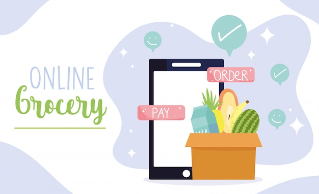 Интернет-магазин, технология оплаты смартфонов и кнопки заказа, продуктовый магазин с доставкой на дом