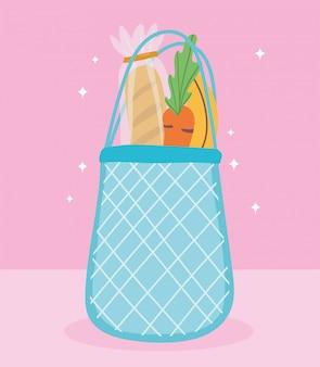 Интернет-магазин, экологически чистая сумка с хлебом, морковью и бананом, продуктовый магазин с доставкой на дом