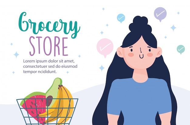 Интернет-магазин, женщина с корзиной для покупок и фруктов, доставка еды в продуктовом магазине иллюстрации