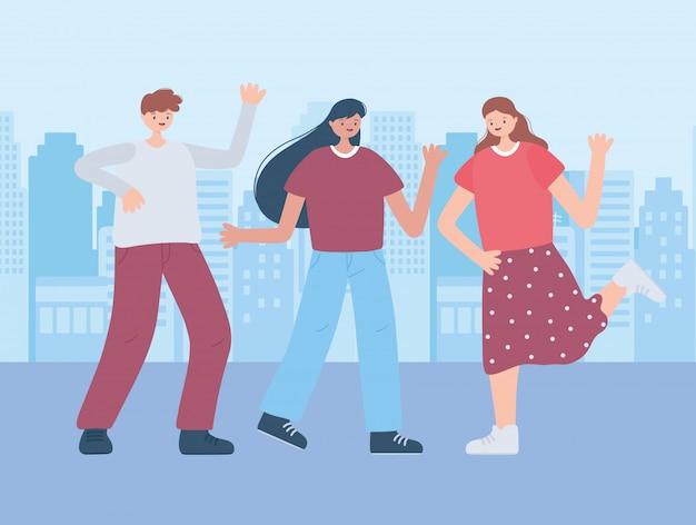 Празднование группы мальчик и женщины героев мультфильмов в городской иллюстрации