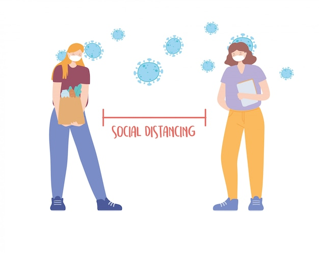 コロナウイルスの社会的距離の予防、遠く離れて立っている女性、医療用フェイスマスクを持つ人々