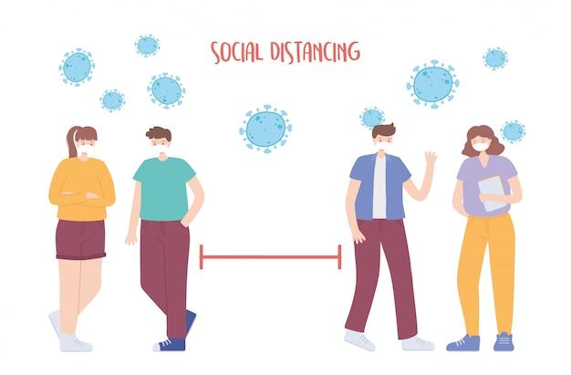 コロナウイルスの社会的距離の予防、安全のためのスペースと人々は離れているべき、医療用フェイスマスクを持つ人々