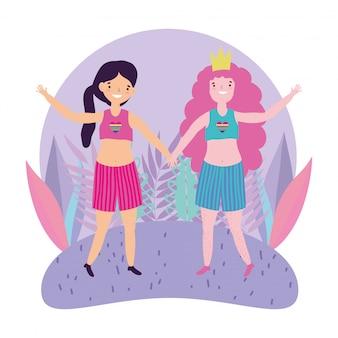 Прайд-парад лгбт-сообщества, счастливые девушки держатся за руки, празднуя