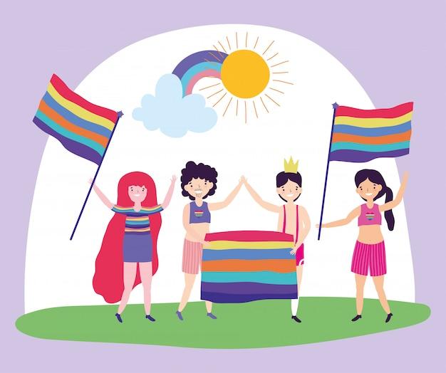 Прайд-парад лгбт-сообщества, группы мужчин и женщин, довольных радужными флагами