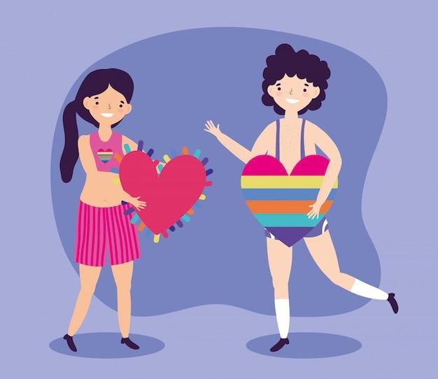 Прайд-парад лгбт-сообщества, женщина и мужчина с сердцем любят радугу