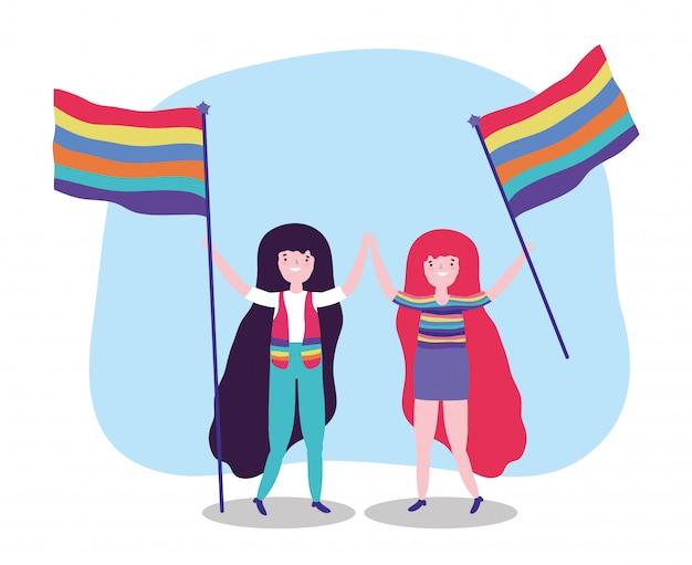 Прайд-парад лгбт-сообщества, женщины с флагом вместе активист