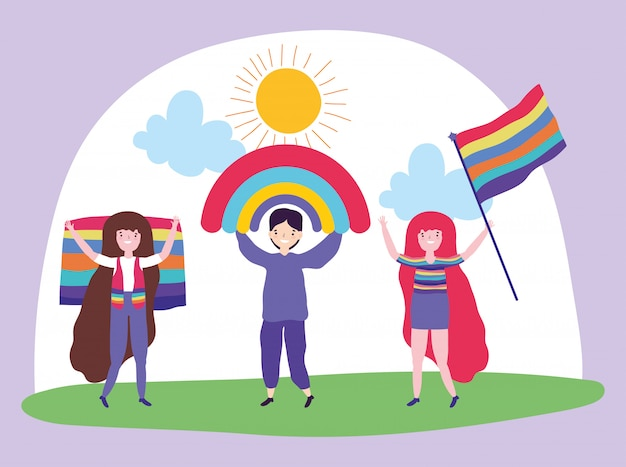 Прайд-парад лгбт-сообщества, юноши и девушки с радугой и флагами
