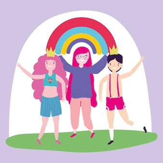 Прайд-парад лгбт-сообщества, народный праздник, встреча с радугой