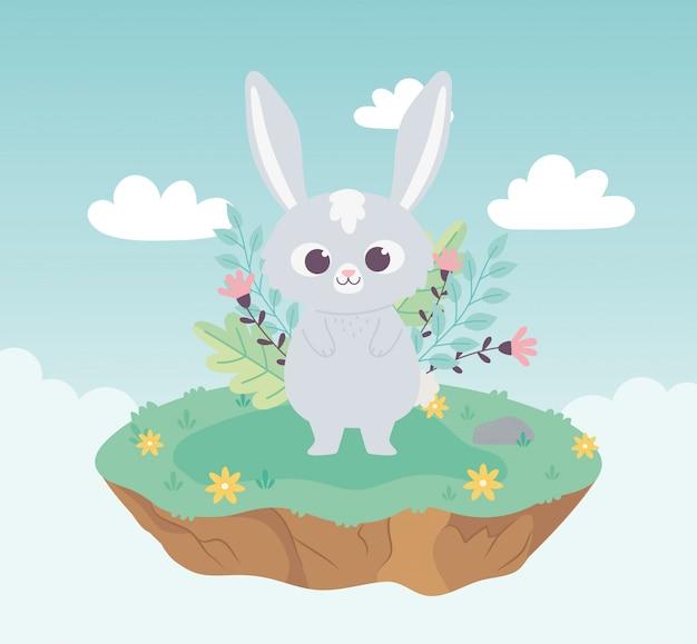 Милый мультфильм животное очаровательный кролик с цветами