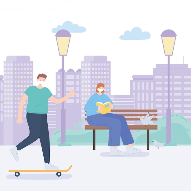 Люди с медицинской маской, женщина, читающая книгу на скамейке и человек, катающийся на коньках, городская активность во время коронавируса
