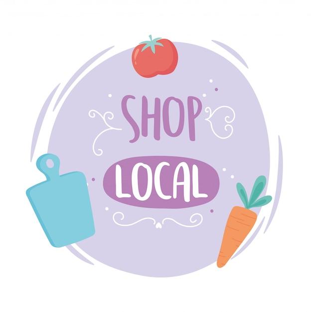 地元のビジネスをサポートし、野菜を収穫する新鮮な店の小さな市場