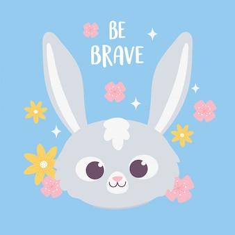 Милый мультфильм животное лицо очаровательны кролика с цветами