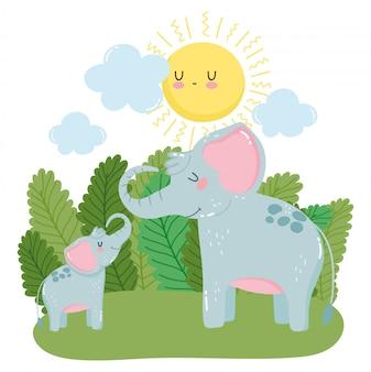 Милая семья слонов в дикой природе