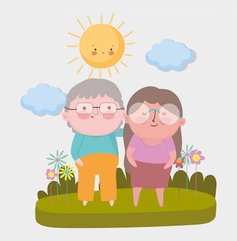 幸せな祖父母の日。公園での高齢者のカップル