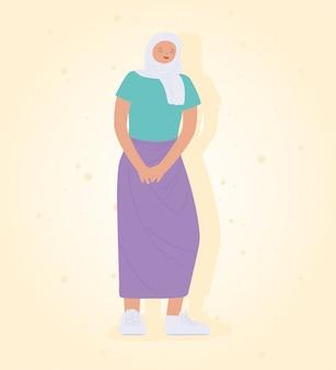 ヒジャーブ立っているアイコンデザインを着た若い女性