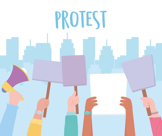 症状抗議活動家、市内のプラカードを持つ政治ピケット手
