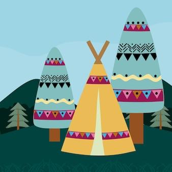 森の漫画にキャンプ