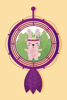夢のキャッチャーでウサギかわいいヒッピー漫画