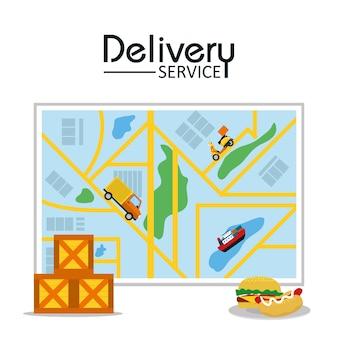 食品配達サービスベクトルイラストグラフィックデザイン