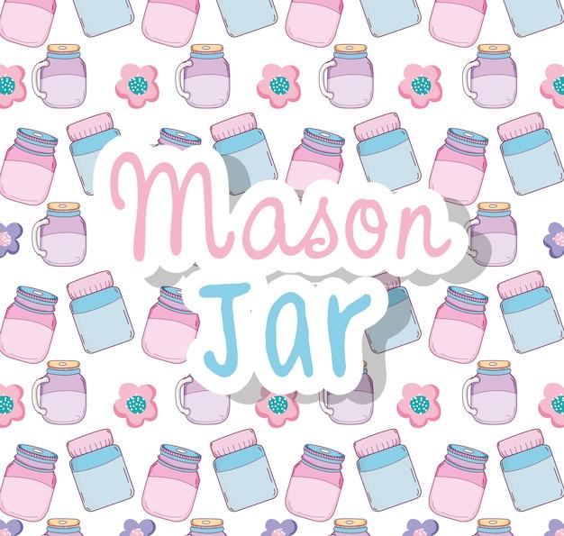 Мейсон-фон из банок на пастельных тонах