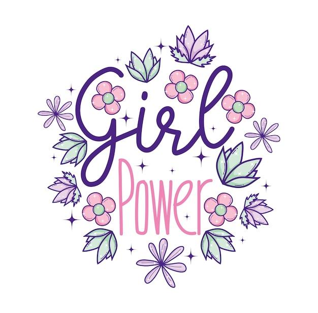 丸いフレームの花と葉の女の子の力
