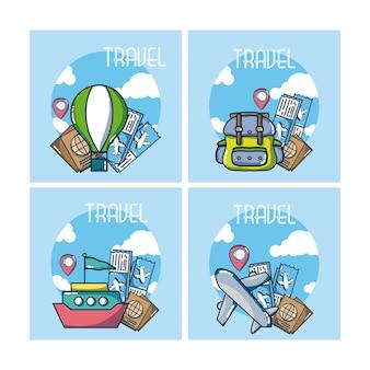 旅行アイコンコレクションのセット
