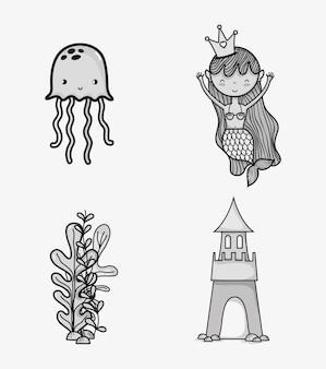 Морские животные рисовать мультфильмы