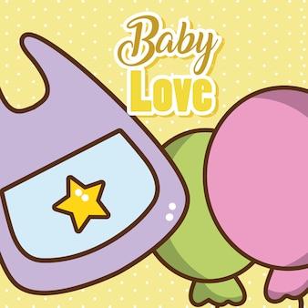 かわいい漫画と赤ちゃんのラブカード