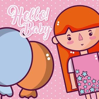 こんにちは、かわいい、柔らかい漫画のカード