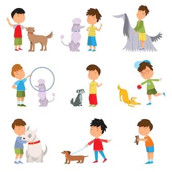 男の子の演奏、ウォーキング、トレーニング犬のイラストのセット