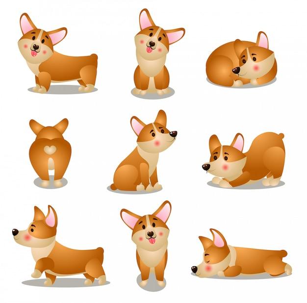 さまざまな日常の状況でのコーギー犬のキャラクターのセット