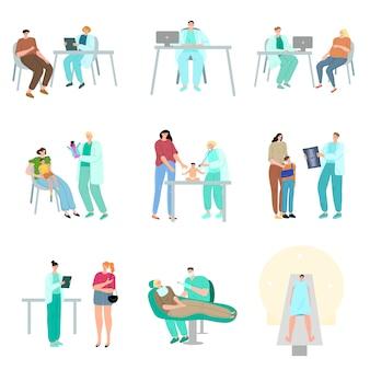 診断手順と検査のためにさまざまな医師を訪れる患者のセット。