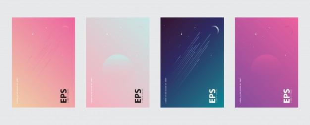 空、月、星、グラデーション、カバー、バナー