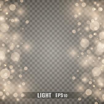 火花と金色の星が特別な光の効果を輝きます。透明な背景の上で輝きます。 。輝く魔法の塵粒子