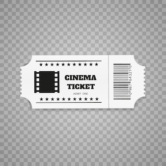 白い背景で隔離のチケット。リアルな正面。映画のチケット。