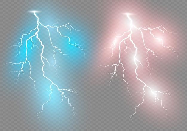 Набор молний. гроза и молнии. волшебные и яркие световые эффекты