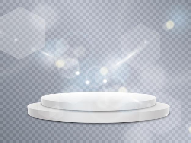 表彰台への光の効果。授賞式の様子です。スポットライトが表彰台を照らします。図