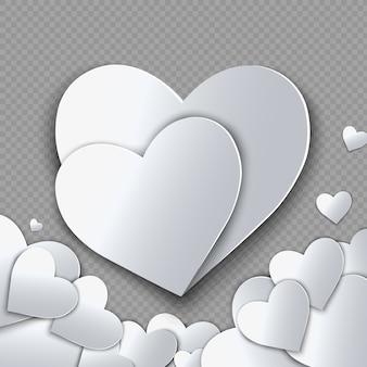 バレンタイン・デー。紙と抽象的な背景は心をカットしました。図