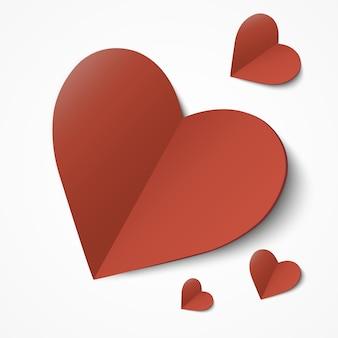 バレンタイン・デー。カット紙のハートと抽象的な背景。図