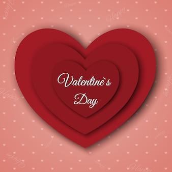 バレンタイン・デー。カット紙のハートと抽象的な背景。
