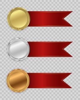 透明な背景に分離されたメダルを受賞します。